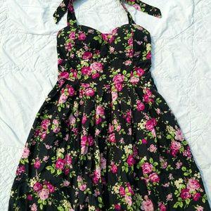 Black with pink rose Halter Dress